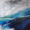 Blue in Green 2, 25x25 cm, acrylic on canvasboard,framed, SOLD