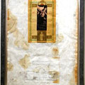 n.t. mixed media, paper on plexi, framed in lead, 63x49cm,  1993,   €500
