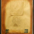 n.t. mixed media, paper on metal, steel-frame, 66x55cm, signed 1991,  €  600