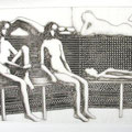 Sauna, coinage/etching  6/30, 1971, 58x86 cm, signed,         sold