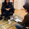 Interview mit Grünen-Chefin Eva Glawischnig. - Vielen Dank an János Fehérváry für das Foto!