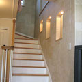 1Fリビングから階段まで全面にエコカラット「ストーン」を施工しました