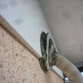 外壁エアコン配管部の隙間