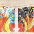 """Le Mans (72)  Première création (1998), réalisée pour la maison de retraite """"LA REPOSANCE"""" Vitrail au plomb traditionnel orné de verres antiques."""