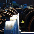 Kunst trifft Industriegeschichte, Impression Licht auf Eisenbahn Wagenrad, © Peter Diziol