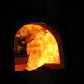 Blick in den heißen Ofen