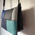 Sac besace patchwork bleu