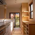 食器収納一体型家電カウンター 白橿町の家 伏見建築事務所製