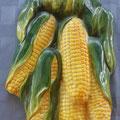 Adorno de pared en cerámica con forma de mazorcas de maíz