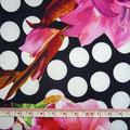 GP-T17-25 黒白玉&ピンク系花柄 ポリエステル