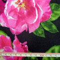 GP-T17-40 黒地に濃ピンク花柄シャンタン