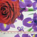GP-T17-49 白地に赤・紫系花柄 薄手ポプリン