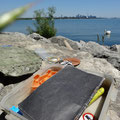 Geocaching in Toronto: Ein Fund am Lake Ontario.