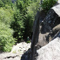 Rock climbing in Kanada: Hier seile ich mich an einer Wand ab.