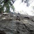 Felsklettern in Kanada: Hochbetrieb an der Wand.