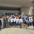 Die Gäste aus Deutschland und ihre Gastgeber nach dem Empfang im Rathaus von Tangxia.