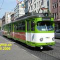 DUEWAG GT8 RNV 518 (vorm. MVV) mit Niederflur-Mittelteil am Paradeplatz