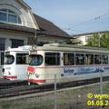 Abgestellt! DÜWAG GT6 128 und 129,  ehem. VBL vor dem Depot in Bad Dürkheim.