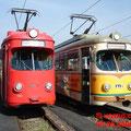 DÜWAG GT6 1017  RNV (vorm.RHB) und und  GT12 (der König der Gelenktriebwagen) der RHB vor dem Depot in Bad Dürkheim.