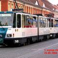 Ein Zug mit zwei KT4D an der Friedrich-Ebert-Strasse in Richtung Nauener-Tor..