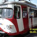 Frontansicht DUEWAG GT8 86 RNV (vorm. OEG) in Weinheim