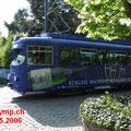 DÜWAG GT6 1015, RNV (vorm.RHB) mit Werbeanstrich in Bad Dürkheim.