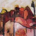 Stadt im Abendlicht - Acryl auf Bütten - 50 x 40cm