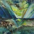 inzwischen - 50 x 50 cm - Beize, Marmormehl, Acryl