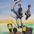 weiter  - 130 x 90 cm -  Acryl und Streichputz auf Leinwand - verkauft