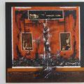 Alles geht vorbei - 60 x 60 - Acryl, Sperrholz, Brandcollage auf Holz