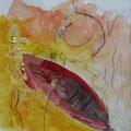 Liebe - Aquarell-Kohle-Blattgold auf Papier 20x30