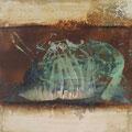 nachdem die Tür ins Schloss fiel - 50 x 50 cm - Eisen, Acryl, Putz auf Jute