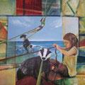 Bande - 100 x 100 cm - Acryl, Spachtel auf Leinwand - verkauft