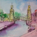 Arsenal/ Venedig- Kolorierte Skizze