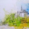 St. Michel. Kolorierte Skizze
