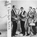 THE RED CAPS - vlnr: Pierre Dierks alias Joey Devlin (zang), John Mens (saxofoon), Jan Verstraten (basgitaar), Frank Eikhout (gitaar), Piet Jongenelen (drums), Wim Jongenelen (gitaar)