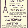 Poster Pigalle Soos (Luxor Foyer, Bergen op Zoom / Hotel Goderie) - april 1966