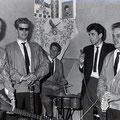 THE BLUE ROCKIN' STARS - optreden 1961 in een horecagelegenheid aan het  Kloosterplein in Breda. vlnr: Rein Klooster, Henk de Vries, Willem Haneveer, Hans Emmerik, Charles de Cort.
