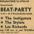 Brabants Nieuwsblad: Beat-Party zaal Wilhelmina, Roosendaal 16 april 1966