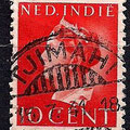 Gestempelde postzegel in Tjimani
