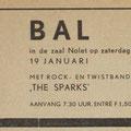 Advertentie in de Scheldebode van 18-1-1963. Optreden The Sparks in Zaal Nolet te Yerseke.
