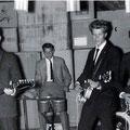 THE BLUE ROCKIN' STARS - optreden 1962 tijdens een bedrijfsfeest van de firma A. Rhee aan de Ginnekenstraat te Breda. vlnr: Rein Klooster, Willem Haneveer, Henk de Vries, Charles de Cort.