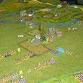 a sinistra, il granduca Liechtenstein guida la carica della cavalleria alleata contro la cavalleria francese.