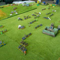Soult infligge diverse perdite anche alle truppe di Langeron,mentre sullo sfondo l'Avanguardia di Kienmayer riesce a tenere a bada sia Davout che Oudinot,con le sole cavallerie.Sulle pendici del Pratzen fà la sua comparsa la 1a colonna di Dokhturov