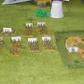 L'Avanguardia austriaca di Kienmayer.Si dissaguerà contro le truppe di Davout,ma attirerà su di sè anche le riserve dei Granatieri di Oudinot.Al momento opportuno,la 1a colonna di Dokhturov,nascosta dietro le pendici del Pratzen,sferrerà il suo attacco
