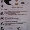 Chenjiagou-Basic-Trainerschein: Faust- und Schwertform, Schulleiterberechtigung, geprüft und gez. von Chen Bing perönl.