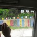 道路端にはボランティアを励ましてくれるメッセージがあります