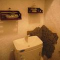 軟石や 自宅トイレに端材を貼りました
