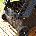 sdraio lettino giardino rattan con ruote