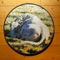 Vache couchée - Huile sur toile marouflée sur panneau bois - encadrement : cercle de roue de char